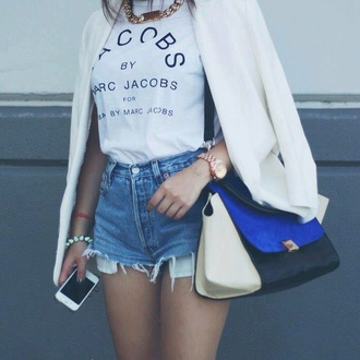 shirt white top t-shirt top style fashion outfit shorts followforfollow ootd bag blazer marc jacobs vintage