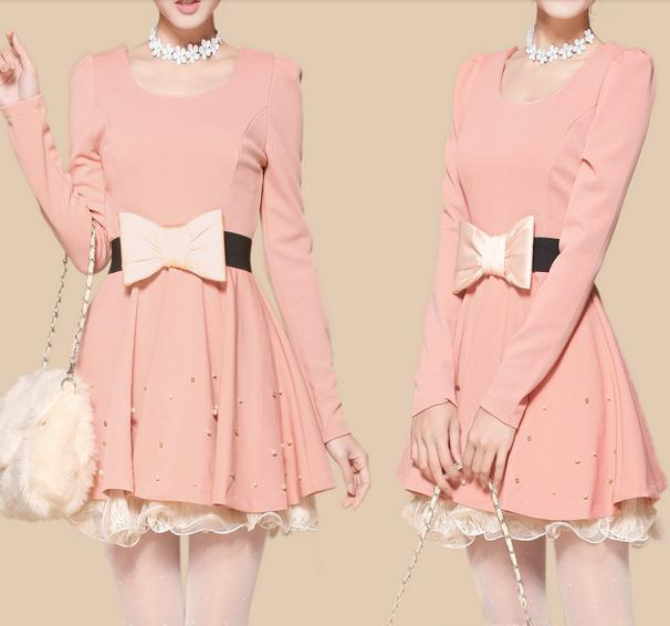 Big bowknot pearl nice dress / fanewant