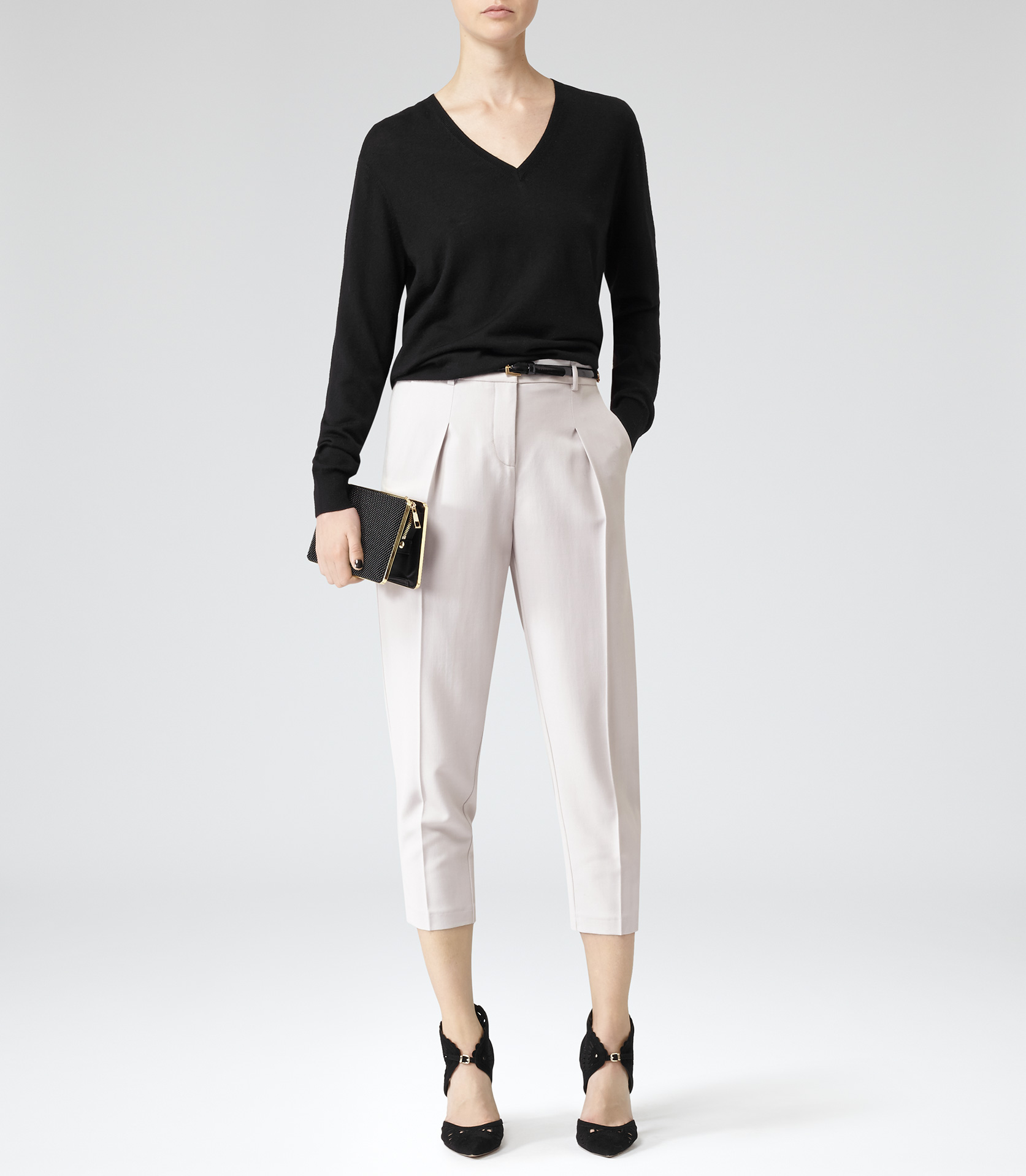 Citronella Frost Tapered Trousers - REISS