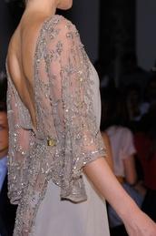 dress,lace dress,nude,open back