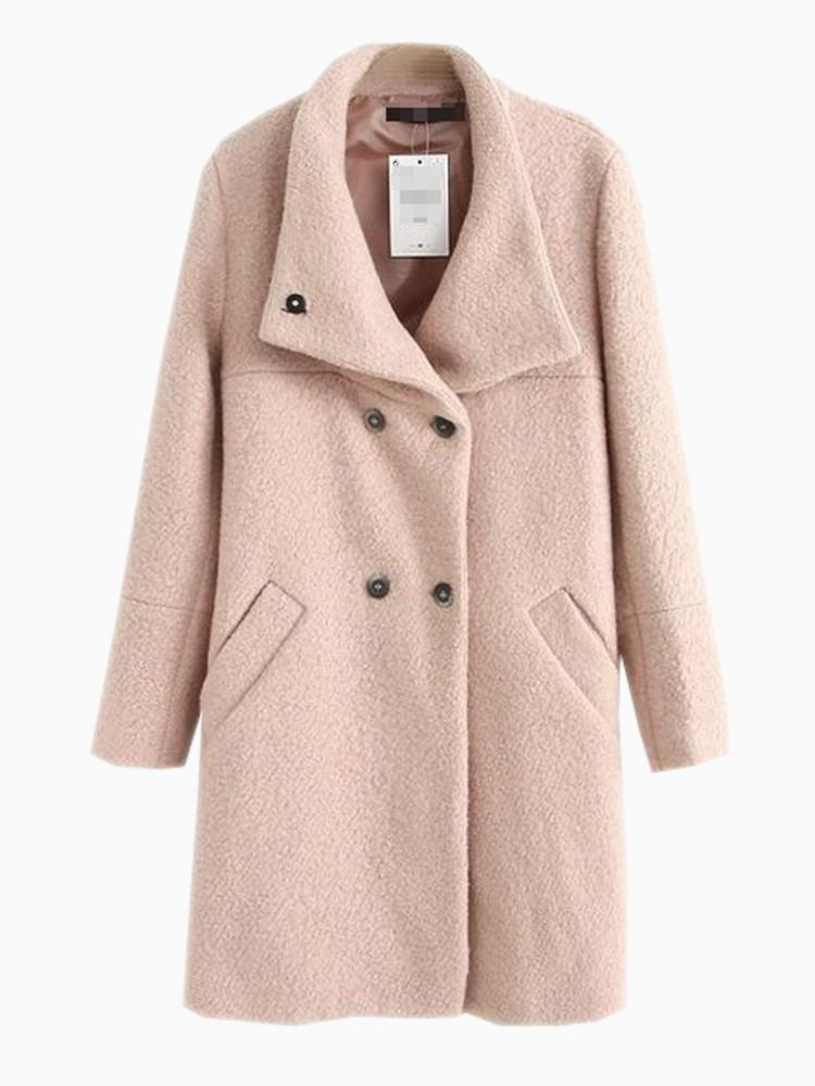 Oversize Longline Coat In Beige | Choies