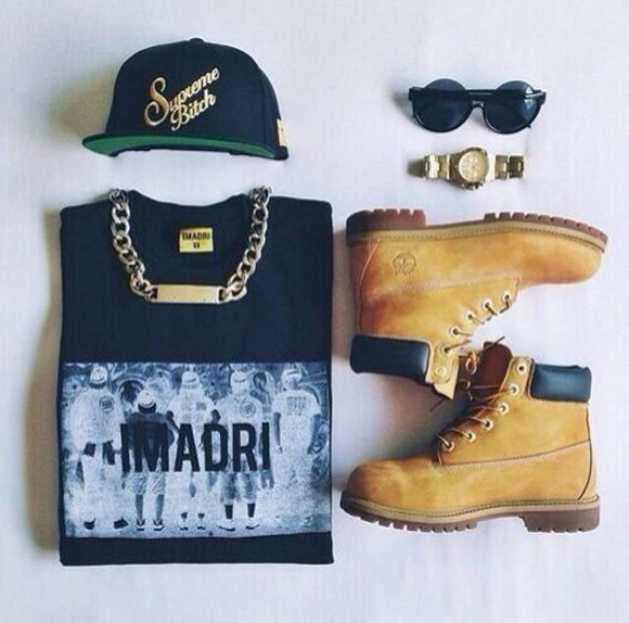 shoes sunglasses hat outfit tumblr jewelry sweater sweatshirt supreme bitch shirt timberlands watch snapback necklace