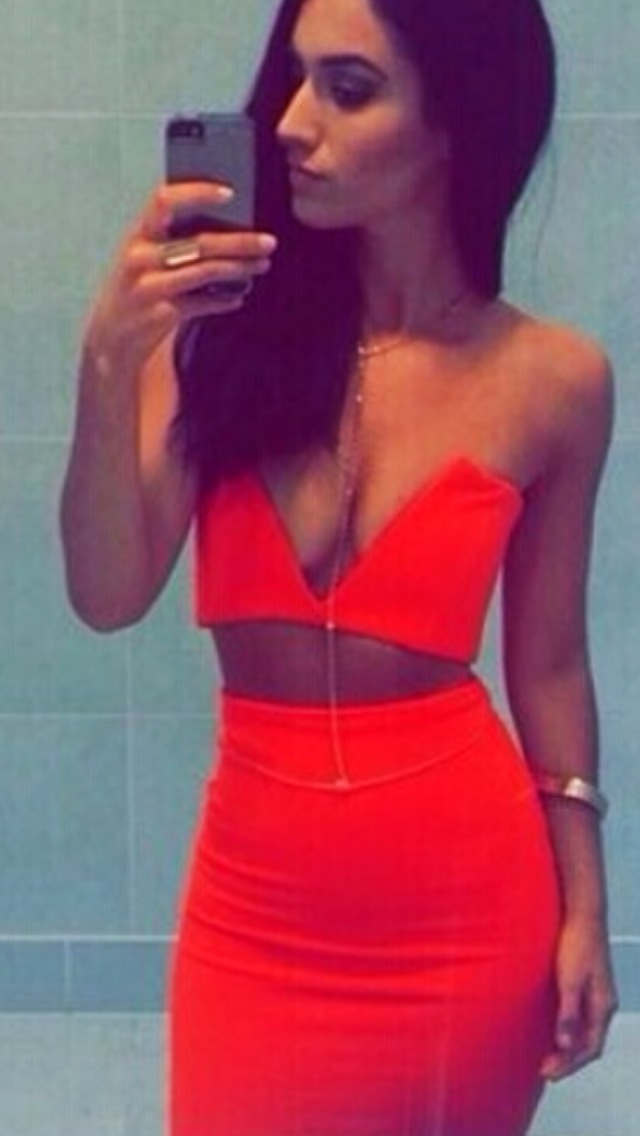 Orange 2 piece v cut top skirt set