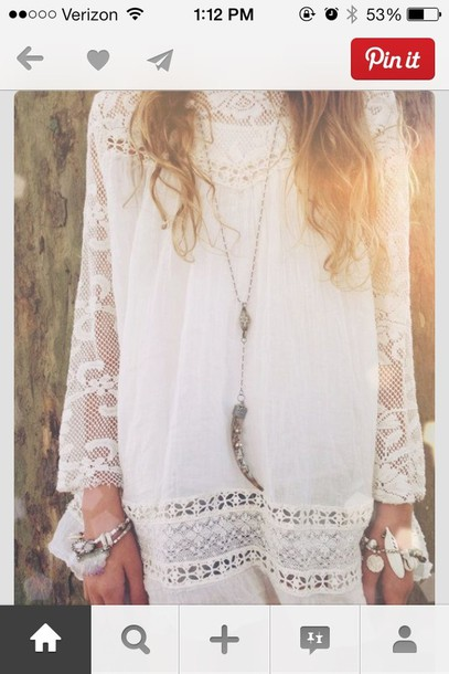 dress white dress boho dress white crochet dress summer dress lace dress jewels