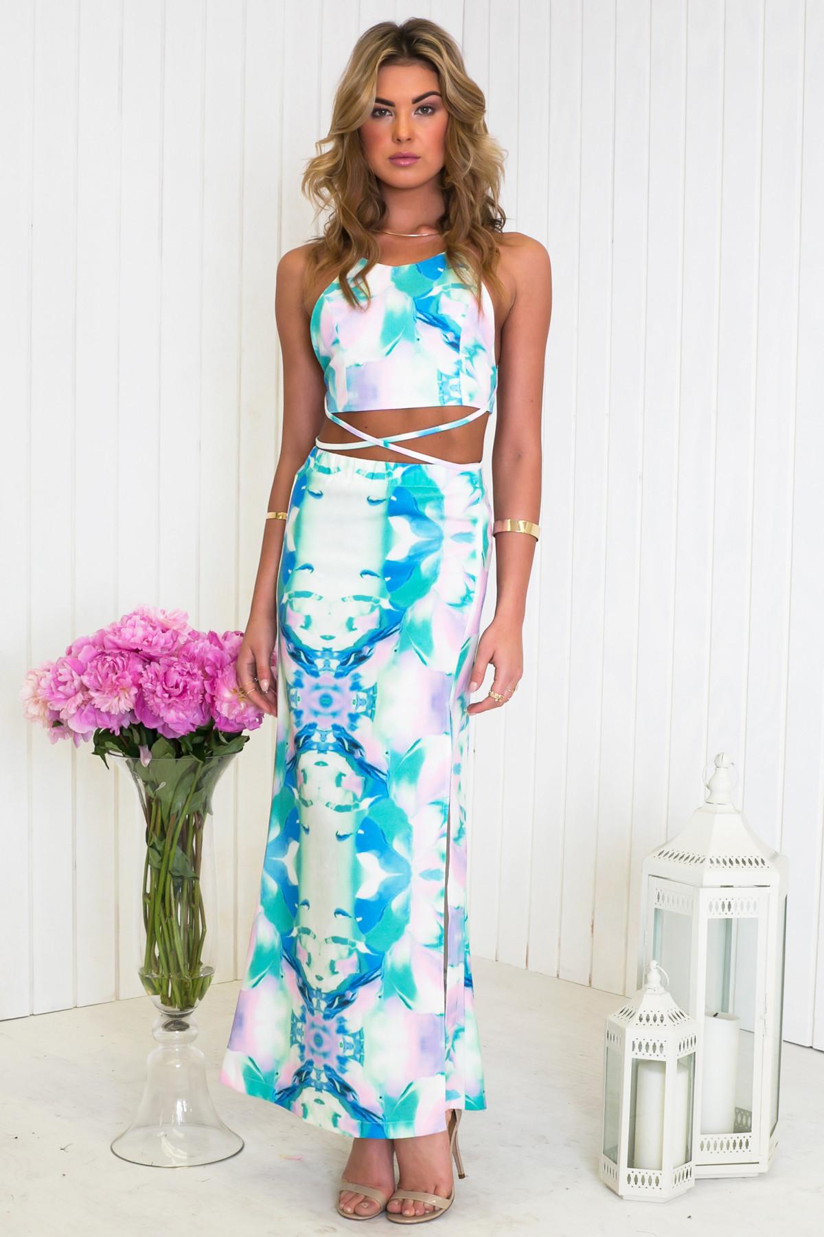 6a2f593227 Emon Watercolor Print Maxi Skirt | Haute & Rebellious