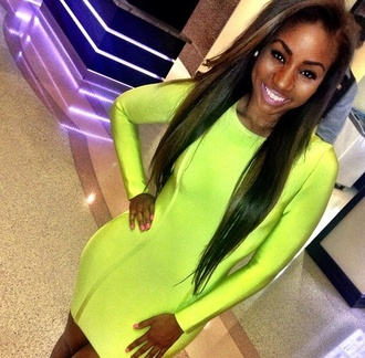 dress neon neon dress lime dress bandage dress bodycon dress clubwear summer dress spring dress fashionista shopaholic chic celebrity style follow my instagram bandage bright lime neon yellow bodycon spring outfits sexy dress blogger stylist where to get it? :)