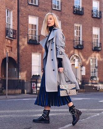 coat grey coat bag skirt boots biker boots trench coat pleated skirt pleated midi skirt