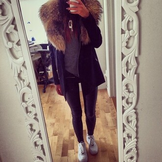 coat girly outfit winter outfits lookbook jacket want want want! winter jacket jacket fur fur fur jacket black black jacket