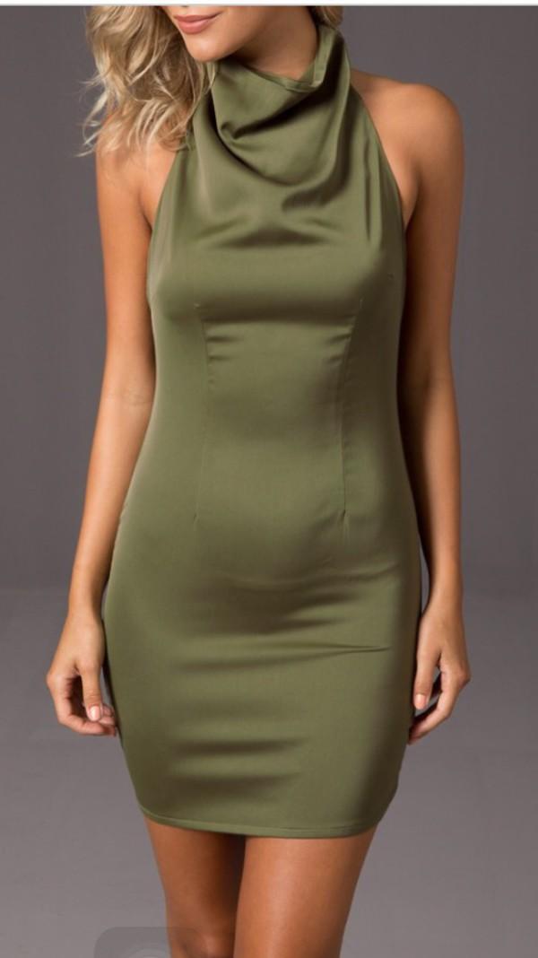 dress green body on silk slouch neck green dress silk dress