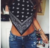tank top,bandana print,bandana tee,black,white,crop tops,shorts,top,jeans