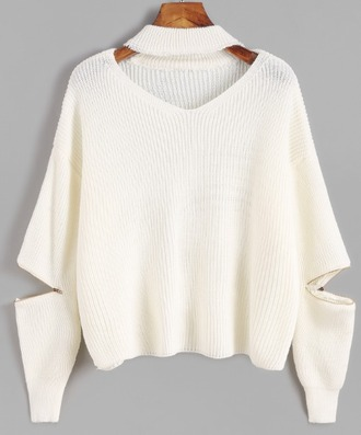 sweater knit knitted sweater white cream zip v neck