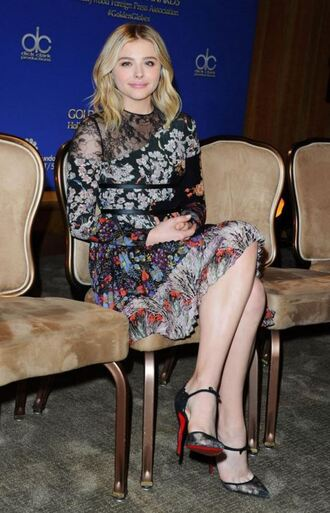 dress pumps lace dress lace chloe grace moretz floral dress floral shoes