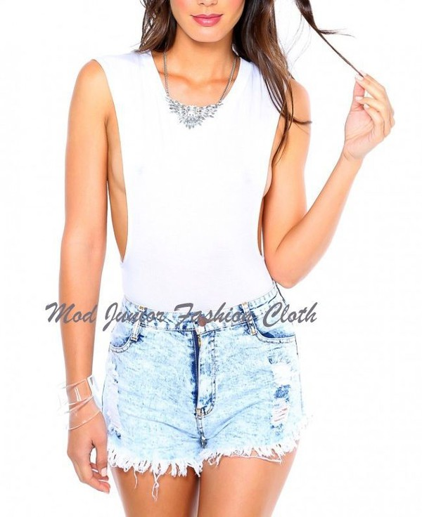 top bodysuit muscle tee plunging sexy top clubwear clubwear party vegas white top sleeveless top bodyduit romper jumpsuit