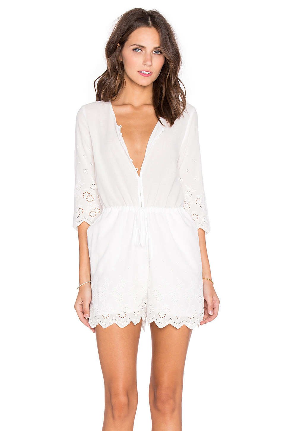 e77bfe978e Toby Heart Ginger Daisy Picking Embroidered Romper in white
