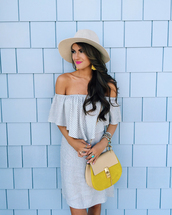 southern curls and pearls,blogger,dress,bag,hat,jewels,romper,shoes,off the shoulder,white hat,striped dress,yellow bag,date outfit