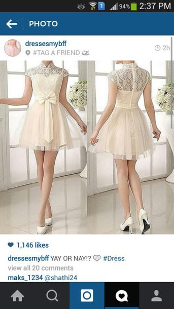 dress cream dress fashion cute cute dress