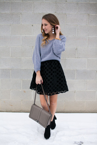 twenties girl style blogger skirt dress sweater jewels shoes bag valentines day date outfit mini skirt black skirt polka dots grey sweater jewelry accessories accessory