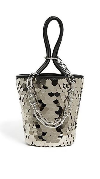 mini shiny bag bucket bag black