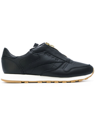 zip women classic sneakers leather black shoes