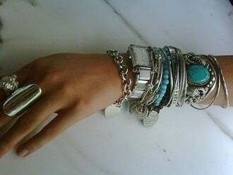 jewels boho turquoise silver hipster hippie stone bracelets stacked bracelets silver bracelet boho jewelry