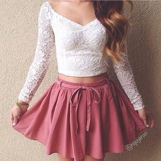 skirt shirt top crop tops lacetop tank top long sleeves v neck v neck top