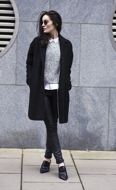 anouska proetta brandon blogger knitted sweater grey sweater leather leggings black coat oxfords