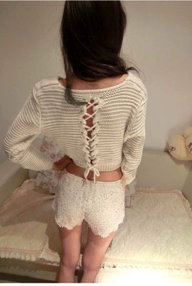 sweater pullover loose fit sweater loose knit sexy white lace up