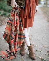 scarf,tumblr,tartan,plaid,tartan scarf,flannel scarf,flannel,dress,rust,sweater dress,boots,ankle boots,tights,opaque tights