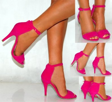 Ladies Womens Fuchsia Bright Hot Pink Faux suede Ankle Cuff Strap Strappy  Peep Toes Stiletto High heels ... 39d990153