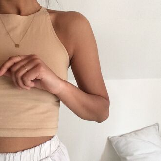 shirt nude shirt nude halter top crop tops cream shirt top halter neck tank top style scrapbook style cute brown sleeveless