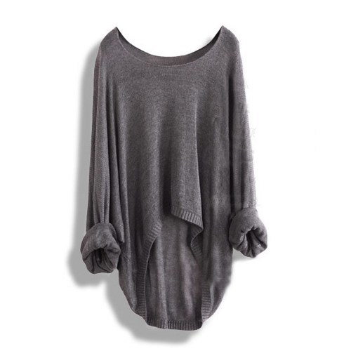 Grey Batwing Casual Loose Asymmetric Sweater / vicone