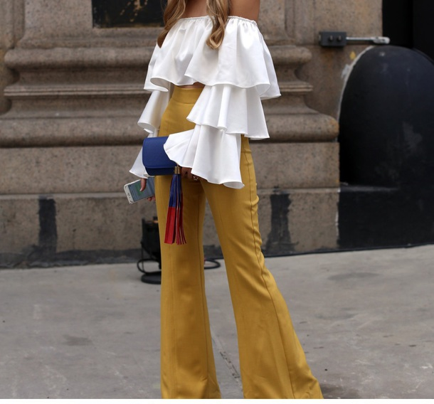 pants yellow/mustard high waist flare pants