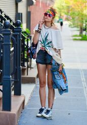 top,shorts,paris jackson,bandana,sunglasses,denim shorts,hippie,hippie chic