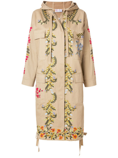 RED VALENTINO coat embroidered women floral nude cotton