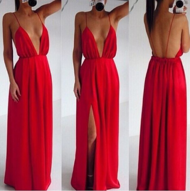 Red Open Back Maxi Dress Neck Dress Open Back Open