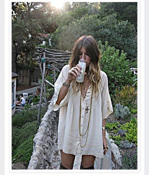 dress fashion festival boho chic indie bohemian gypsy summer white dress t-shirt dress coachella