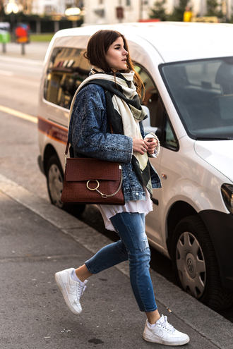 the fashion fraction blogger jacket shirt jeans bag shoes scarf athleisure