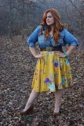 top,deni 3/4 sleeves,skirt,knee length mustard floral skirt