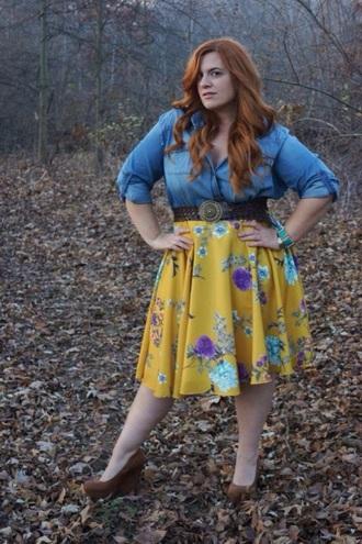 top deni 3/4 sleeves skirt knee length mustard floral skirt