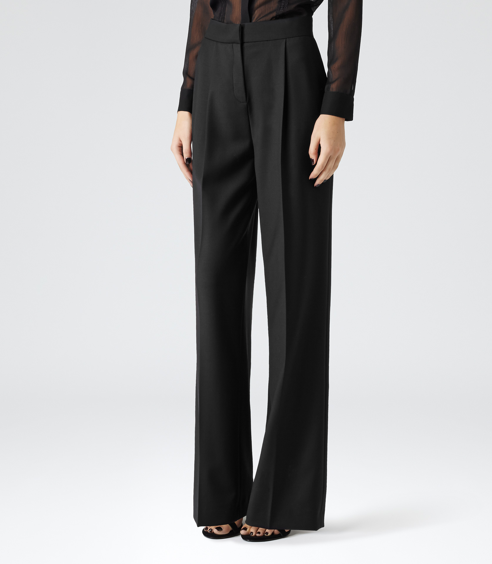 Black High-waisted Wide Leg Trousers - REISS
