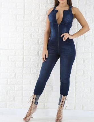 jumpsuit tight denim blue overalls transparent boots shoes clear boots clear lace up booties vue boutique