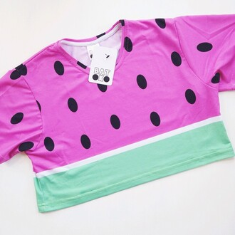 top batoko watermelon watermelon top watermelon crop www.batoko.com girls friends wardrobe summer style celebrities blogger watermelon shirt watermelon crop top
