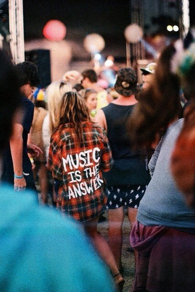 music festival black bikini shirt red cool cool shirts rock blouse flannel oversized grunge vans flannel fashion vintage music is the answer jacket music festival