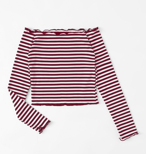 0fe7b85701d blouse girly red white stripes striped top off the shoulder off the  shoulder top long sleeves