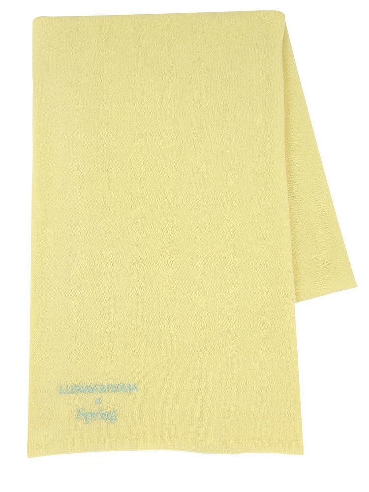 LUISA VIA ROMA Cashmere Knit Scarf in yellow