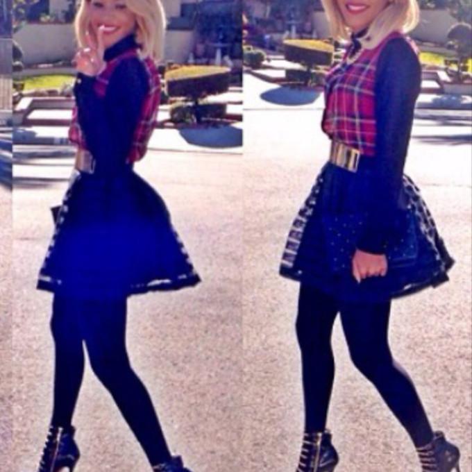 Tumblr Plaid Skirt High Heels