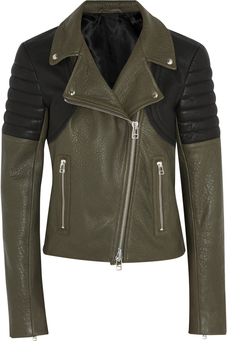 Two-tone textured-leather biker jacket | THE OUTNET