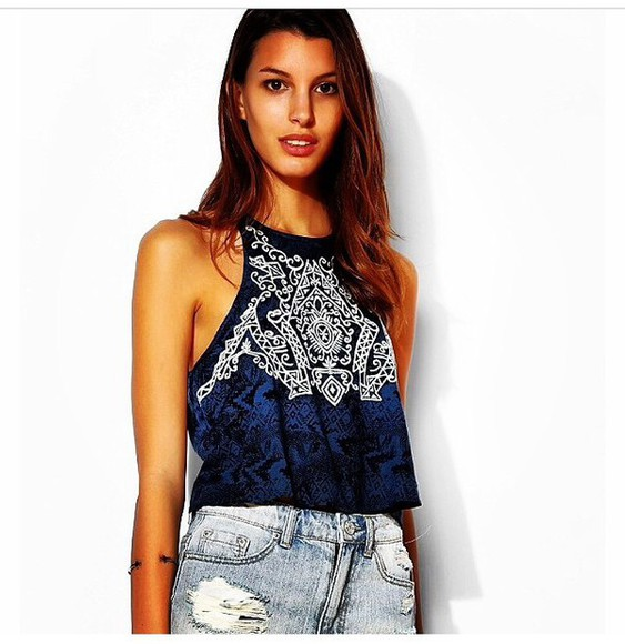tribal pattern shirt blue shirt boho shirt