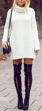 shoes,style,boots,thigh highs,thigh high boots,lace up,high heels,heels,tumblr outfit,tumblr,tumblr girl,sweater,dress