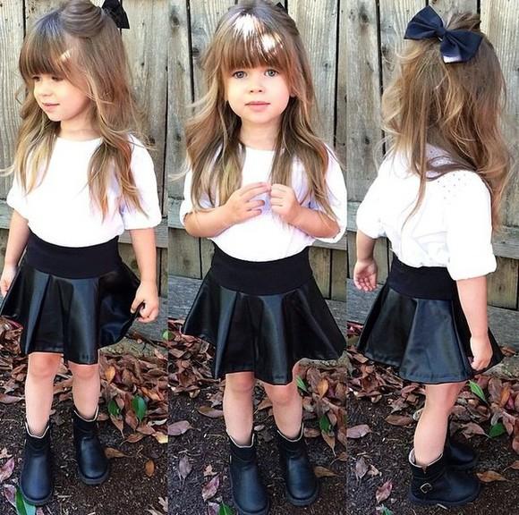 skirt girl kids fashion girly skater skirt leather skirt bows hair bow